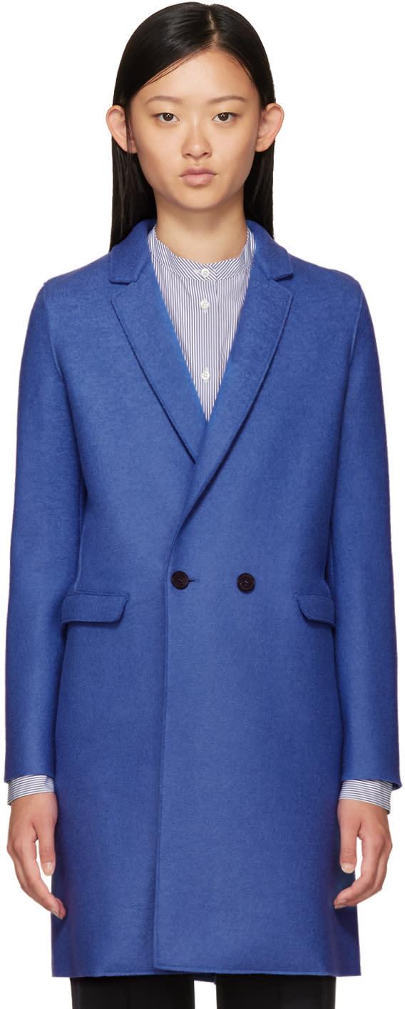 Harris Wharf London Blue Wool Double-breasted Coat