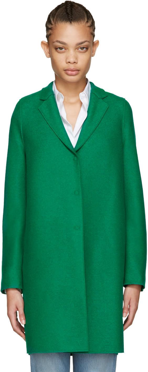 Harris Wharf London Green Wool Cocoon Coat