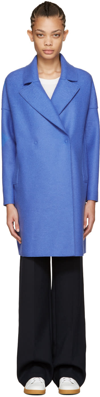 Harris Wharf London Blue Wool Oversized Collar Coat