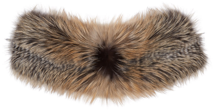 Brock Collection Grey and Brown Fur Scarf