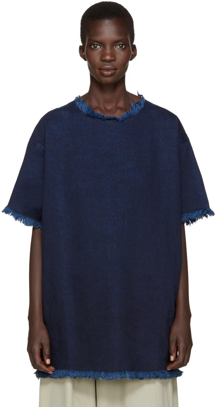 Marques Almeida Indigo Frayed Denim Dress