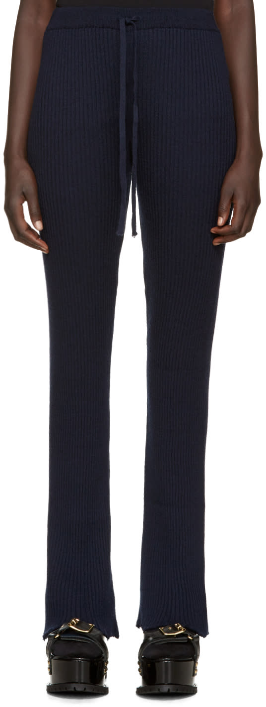 Marques Almeida Navy Wool Lounge Pants