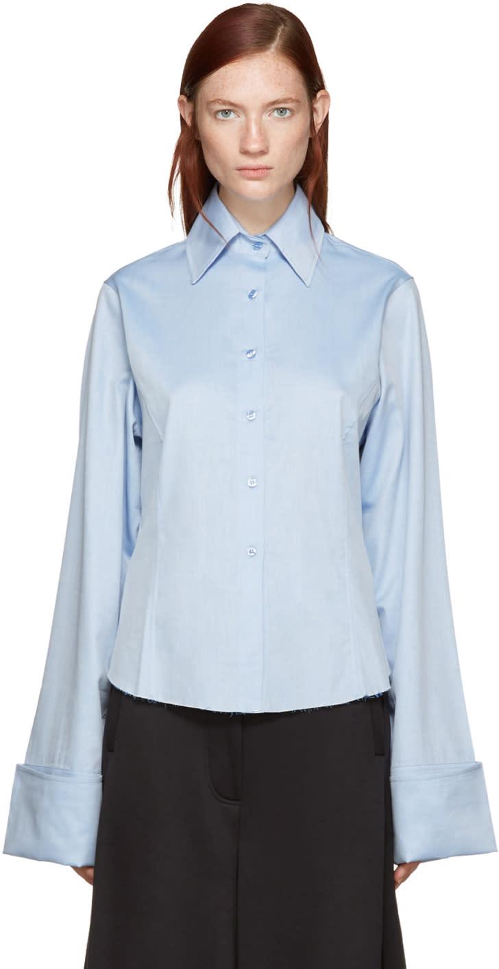 Marques Almeida Blue Oversized Cuffs Shirt