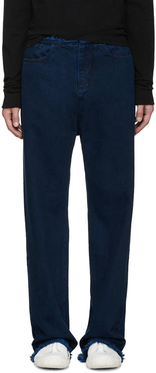 Marques Almeida Indigo Frayed Jeans