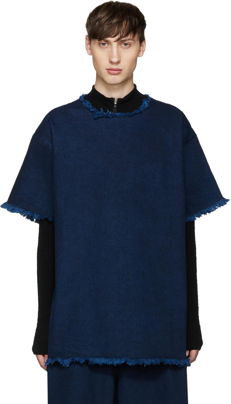 Marques Almeida Indigo Frayed Denim T-shirt