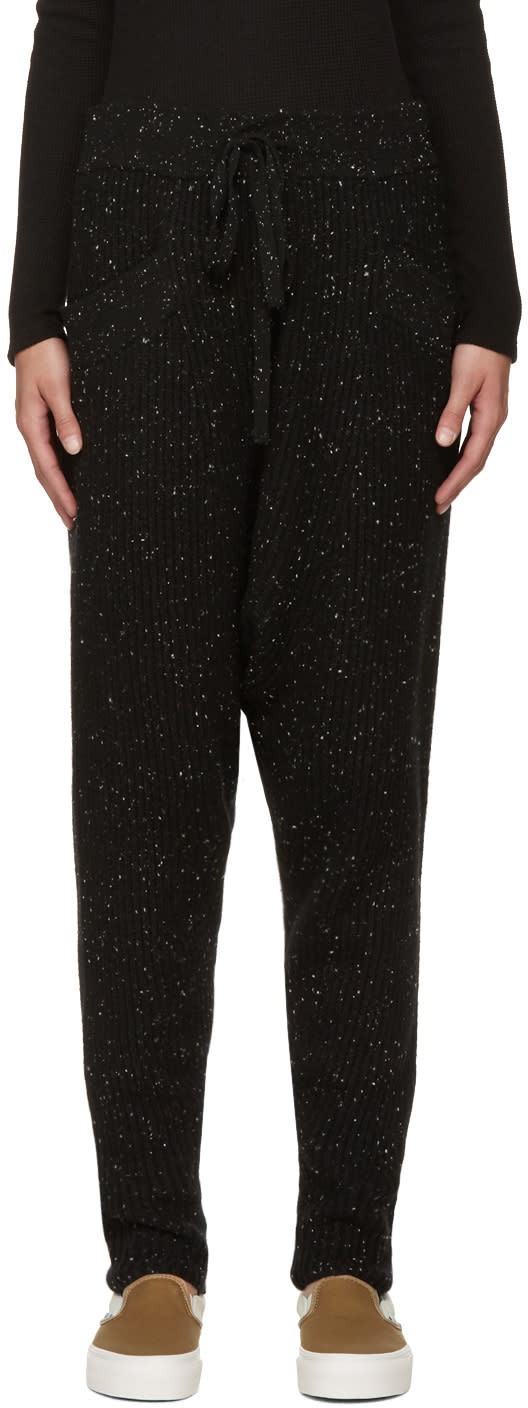 Baja East Black Cashmere Ribbed Lounge Pants