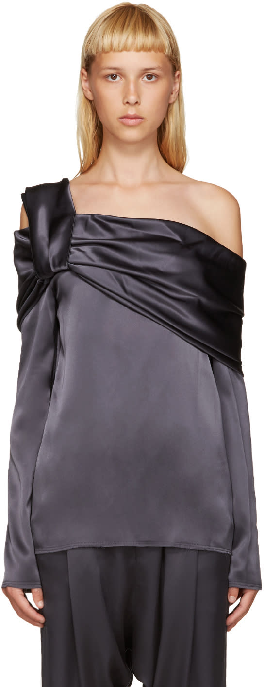 Baja East Grey Draped Satin Blouse