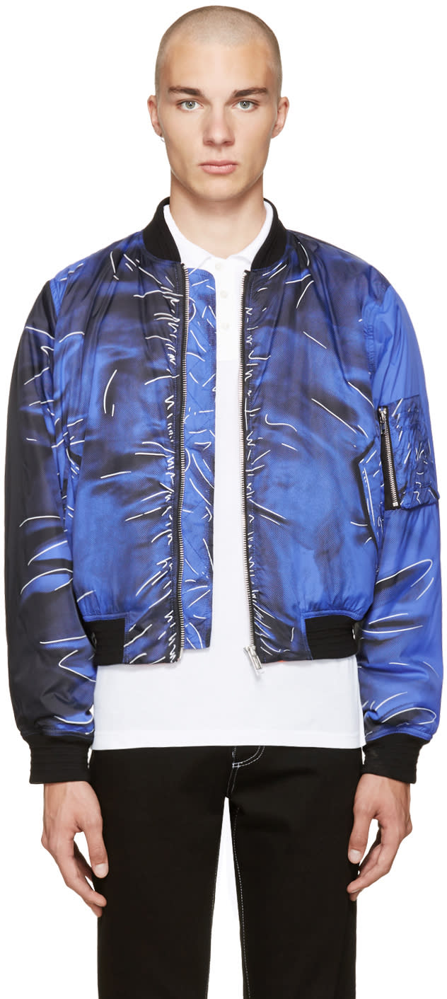 Image of Moschino Blue Drawing Bomber Jacket