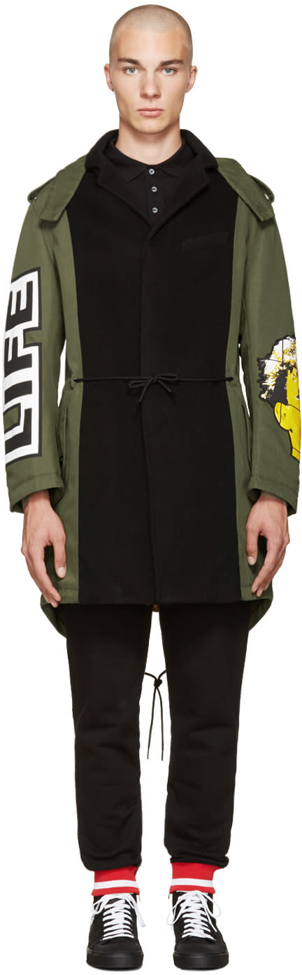 Image of Moschino Green Patchwork Coat