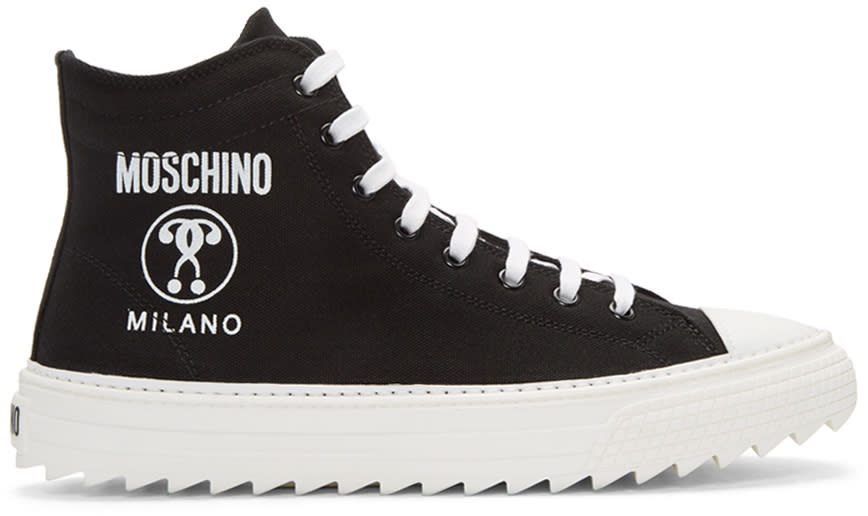 Moschino Black Canvas Logo High-top Sneakers