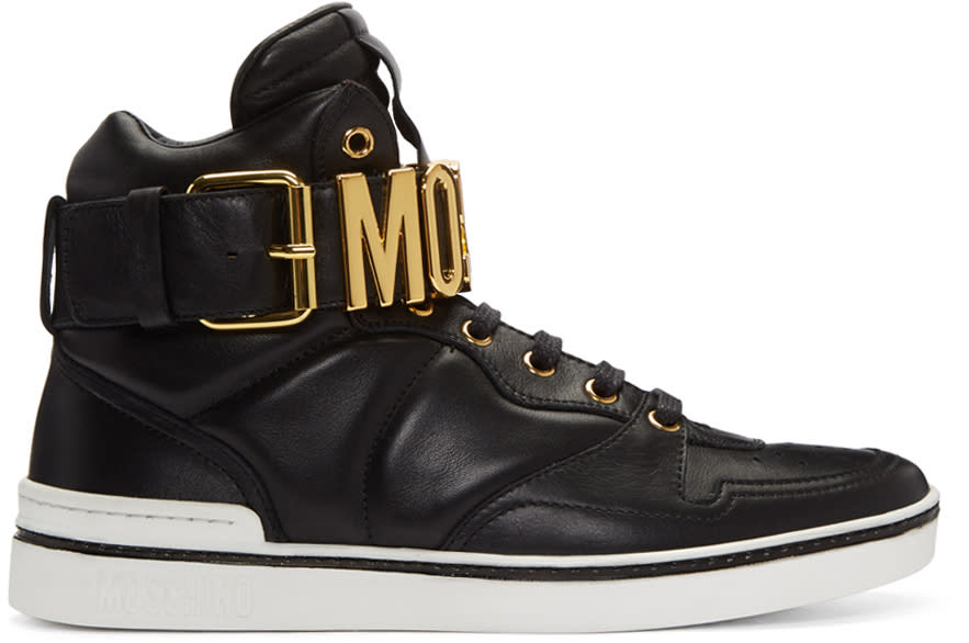 Moschino Black Logo High-top Sneakers