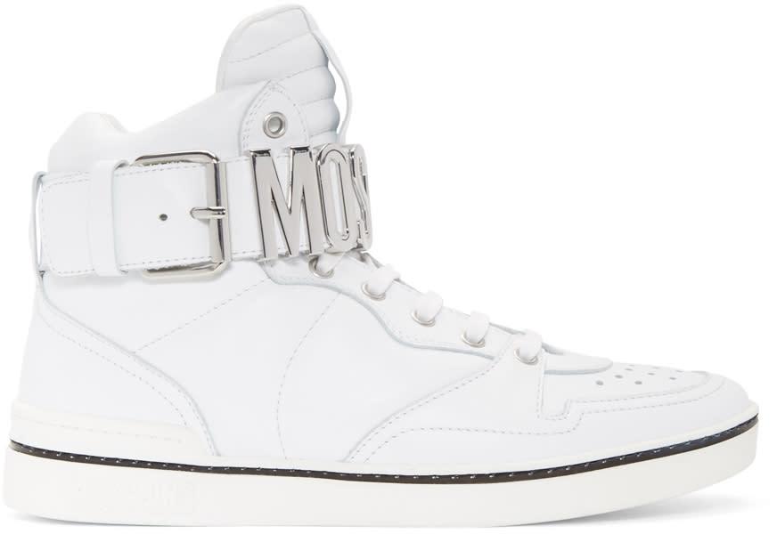 Moschino White Logo High-top Sneakers