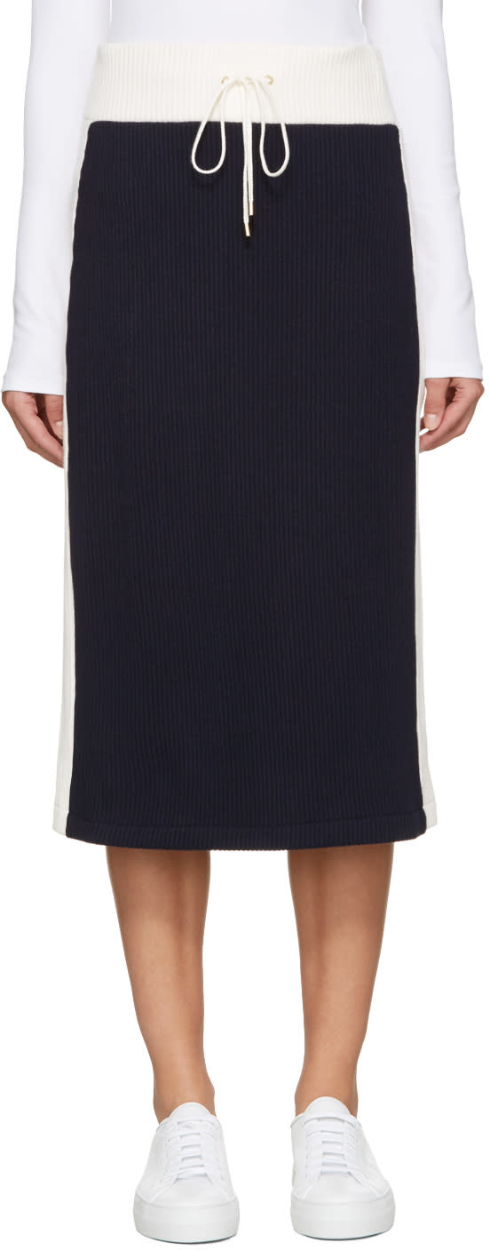 Atea Oceanie Navy and Ivory Ribbed Skirt