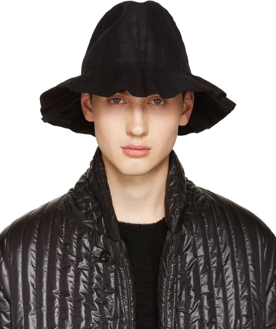 Issey Miyake Men Black Pleated Bucket Hat