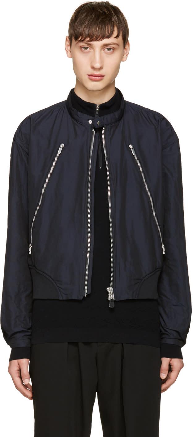 Issey Miyake Men Navy Zip Bomber Jacket