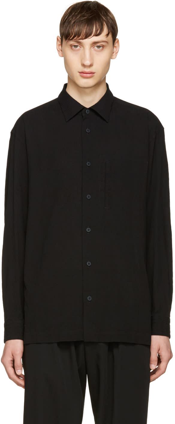 Issey Miyake Men Black Shrunk Tuck Shirt