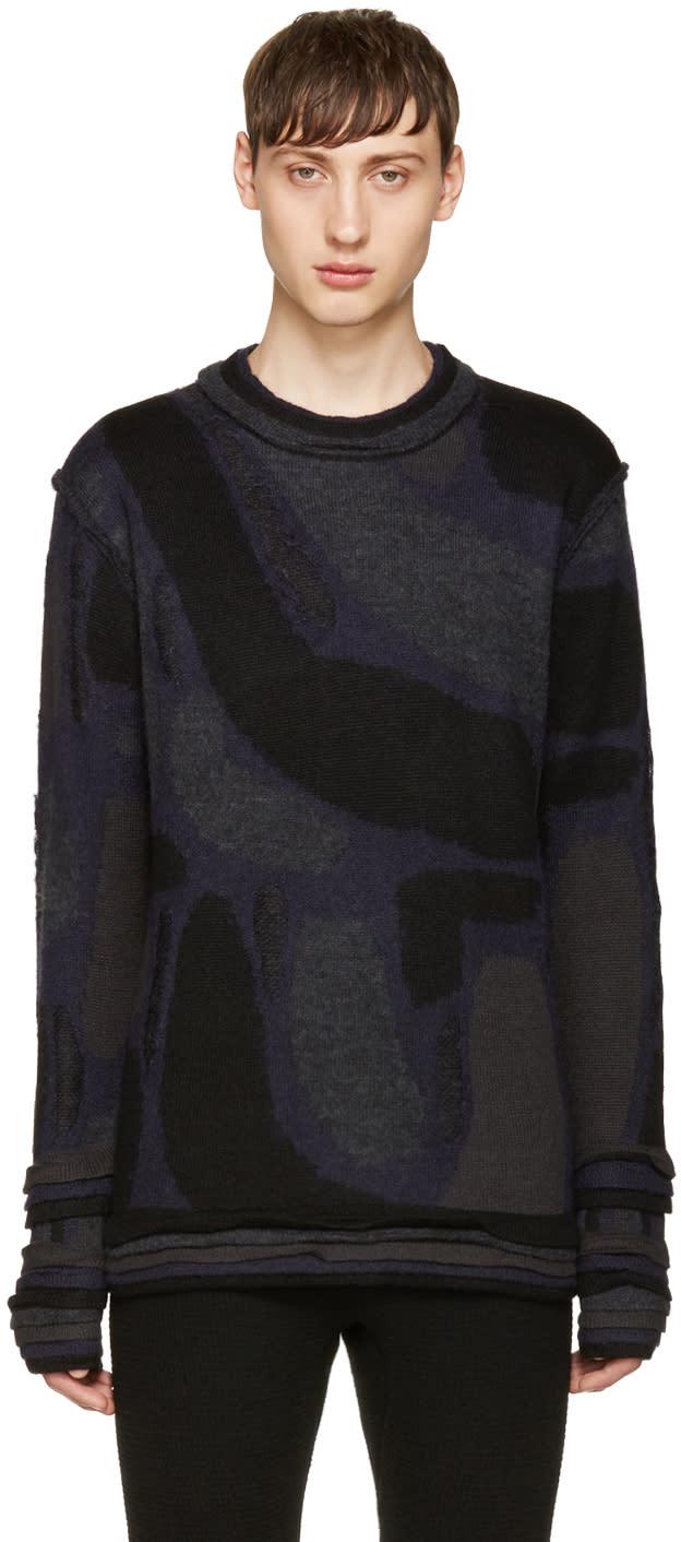Issey Miyake Men Black Knit Jacquard Sweater