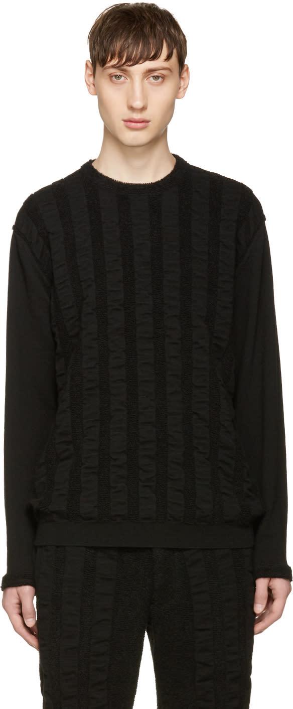 Issey Miyake Men Black Wave Pile Sweater