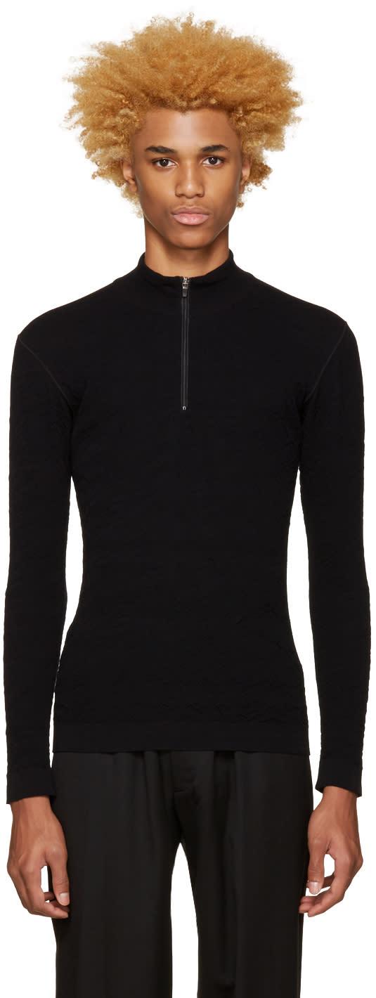 Issey Miyake Men Black Half-zip Pullover