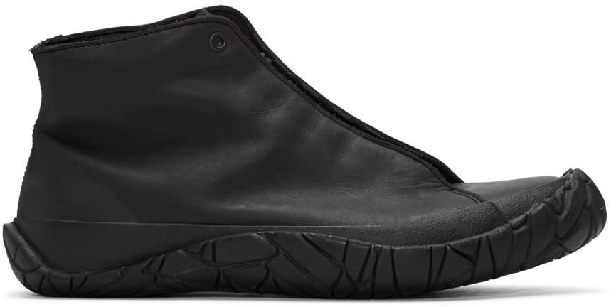 Issey Miyake Men Black Leather High-top Sneakers