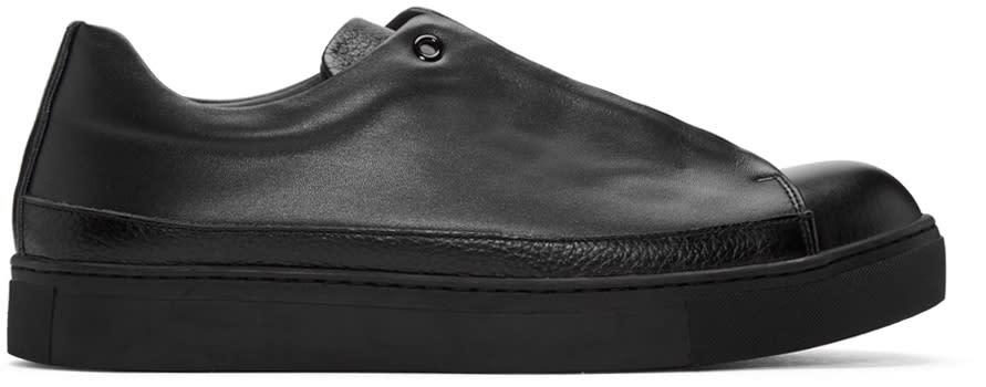 Issey Miyake Men Black Leather Sneakers