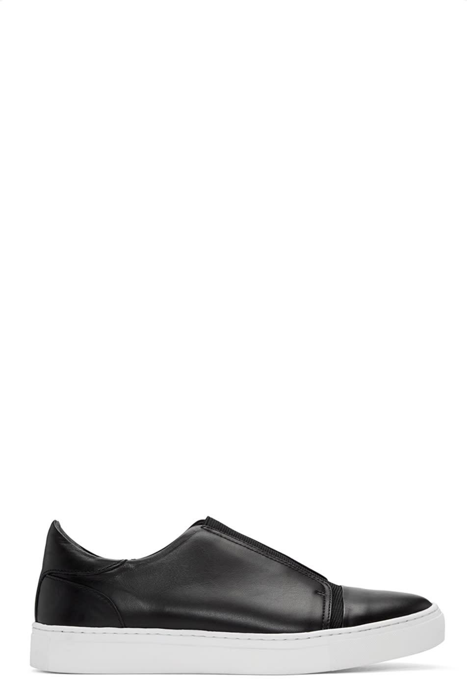 Issey Miyake Men Black Leather Slip-on Sneakers