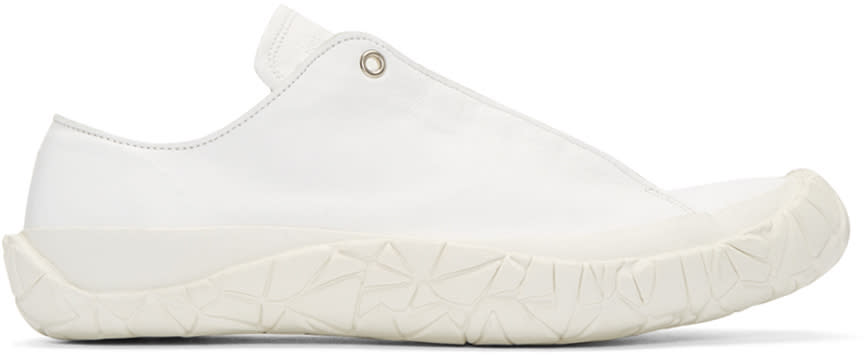 Issey Miyake Men White Leather Sneakers