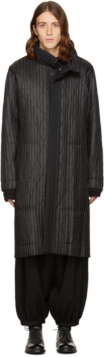 Homme Plissé Issey Miyake Black Long Boxpleat Coat