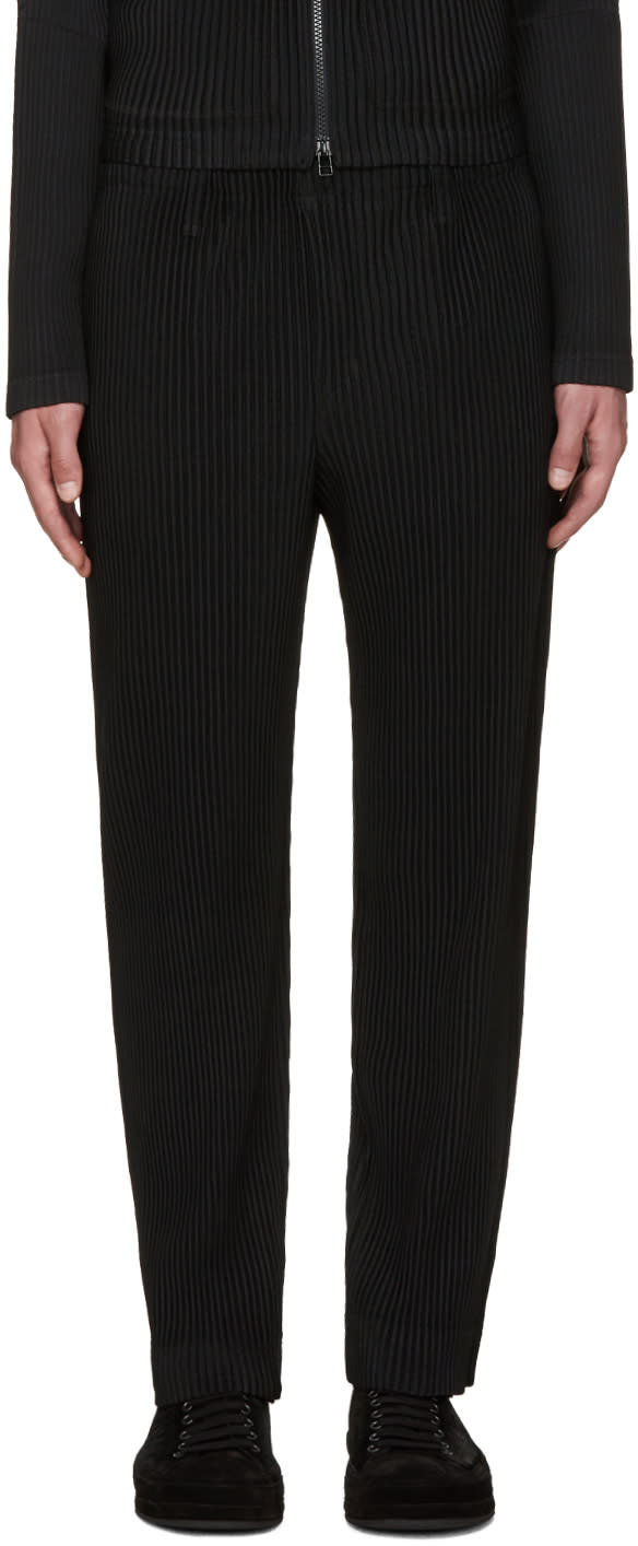 Homme Plissé Issey Miyake Black Pleated Tailored Trousers
