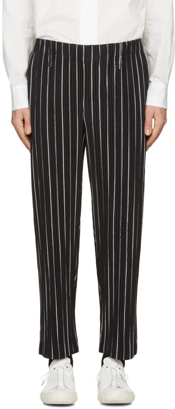 Homme Plissé Issey Miyake Black Striped Trousers