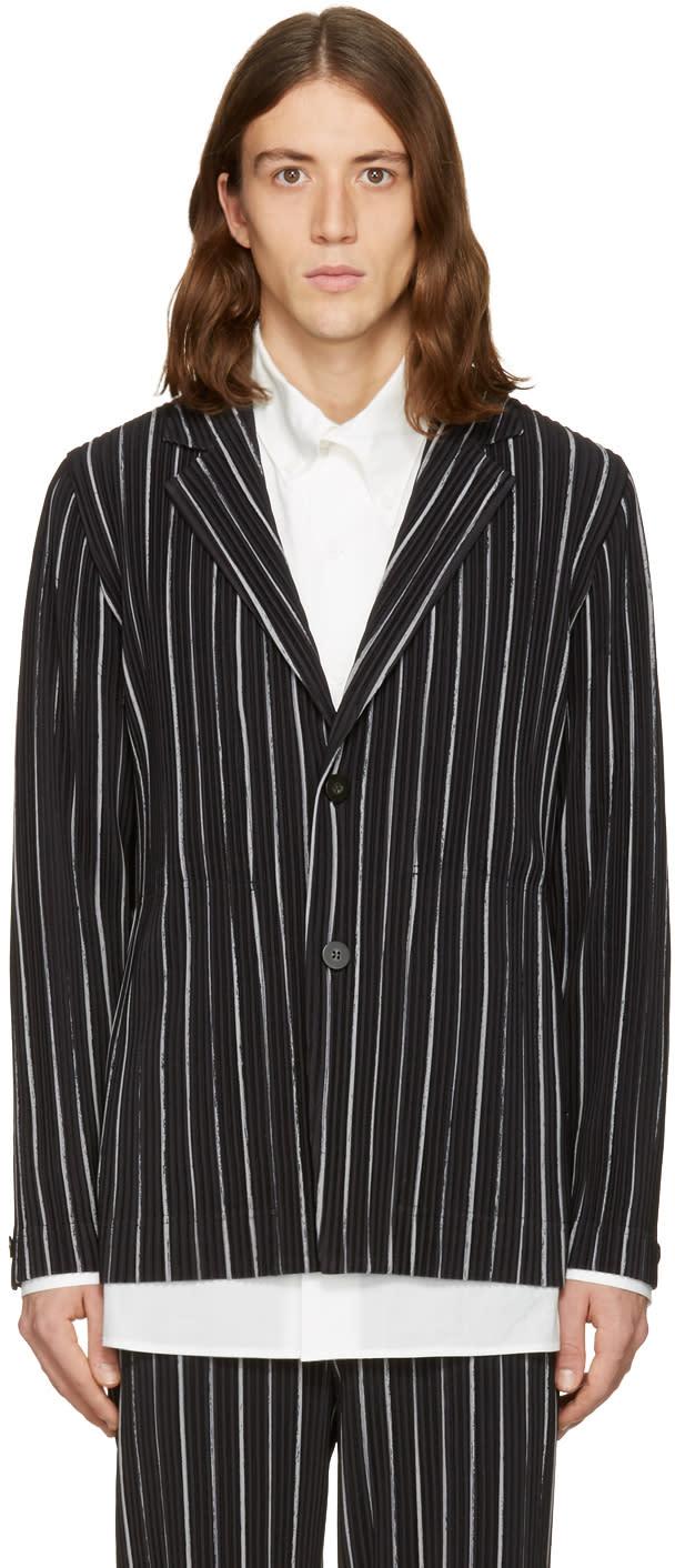 Homme Plisse Issey Miyake Black Striped Blazer