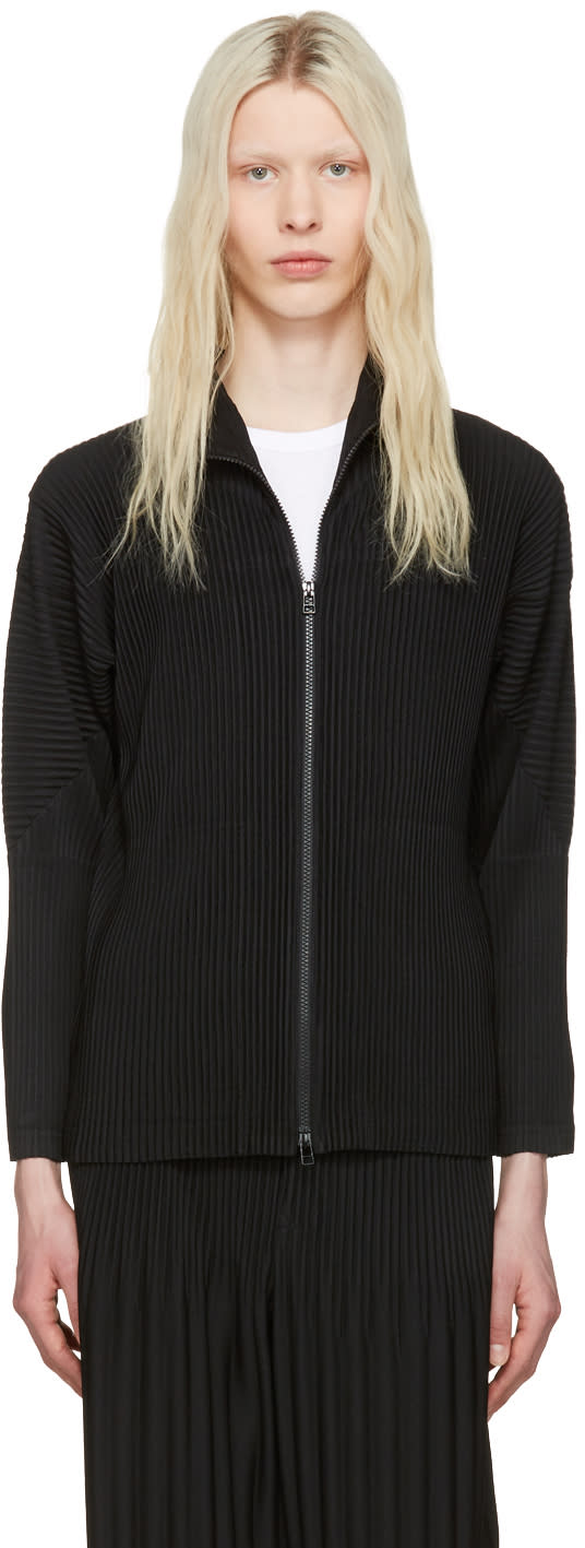 Homme Plissé Issey Miyake Black Pleated Zip-up Sweater