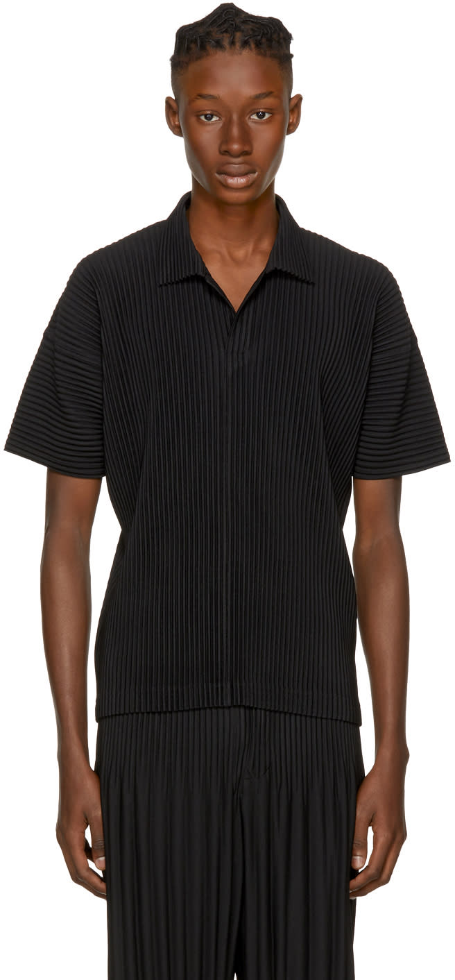 Image of Homme Plissé Issey Miyake Black Pleated Polo
