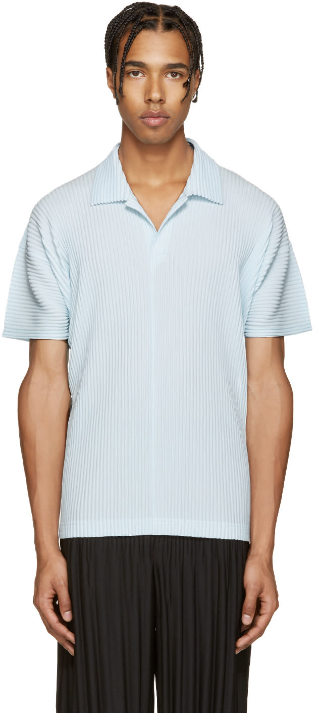 Homme Plissé Issey Miyake Blue Pleated Polo