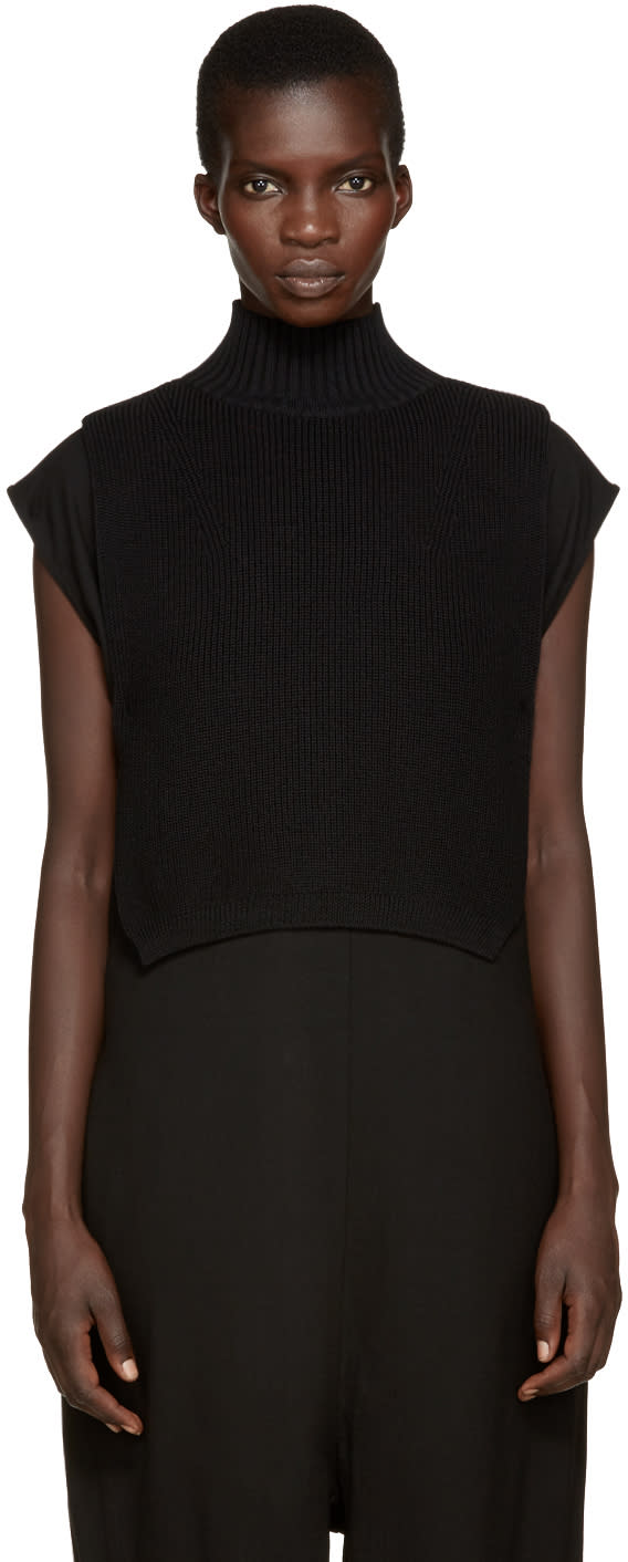 Ys Black Mock Neck Collar
