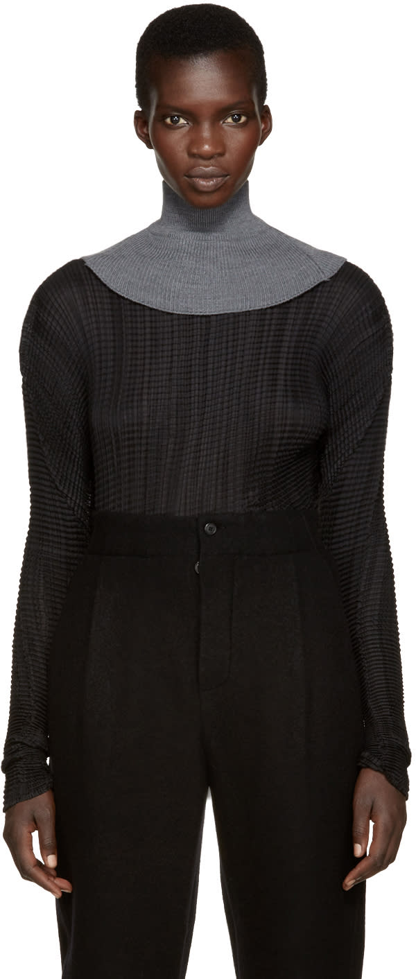 Ys Grey Mock Neck Collar