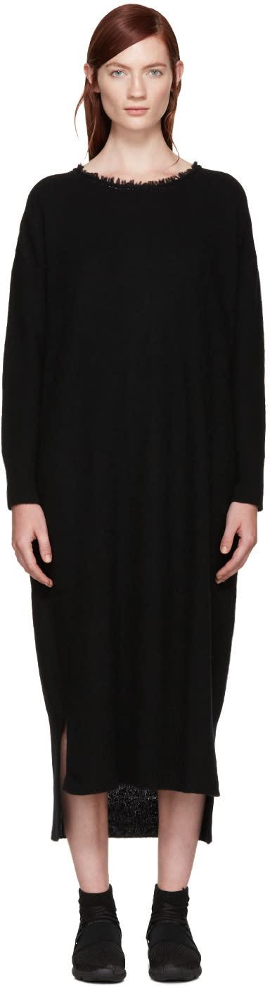 Ys Black Fringed Collar Dress