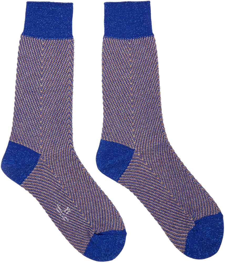 Ys Blue Metallic Herringbone Socks