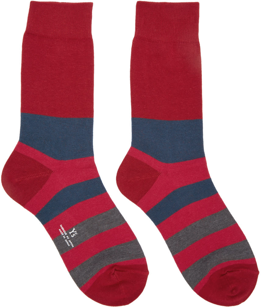 Ys Red Striped Border Socks