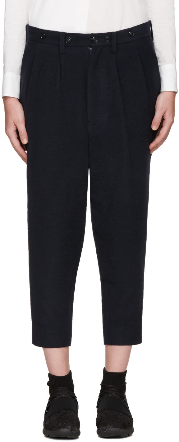 Ys Navy Wool Trousers