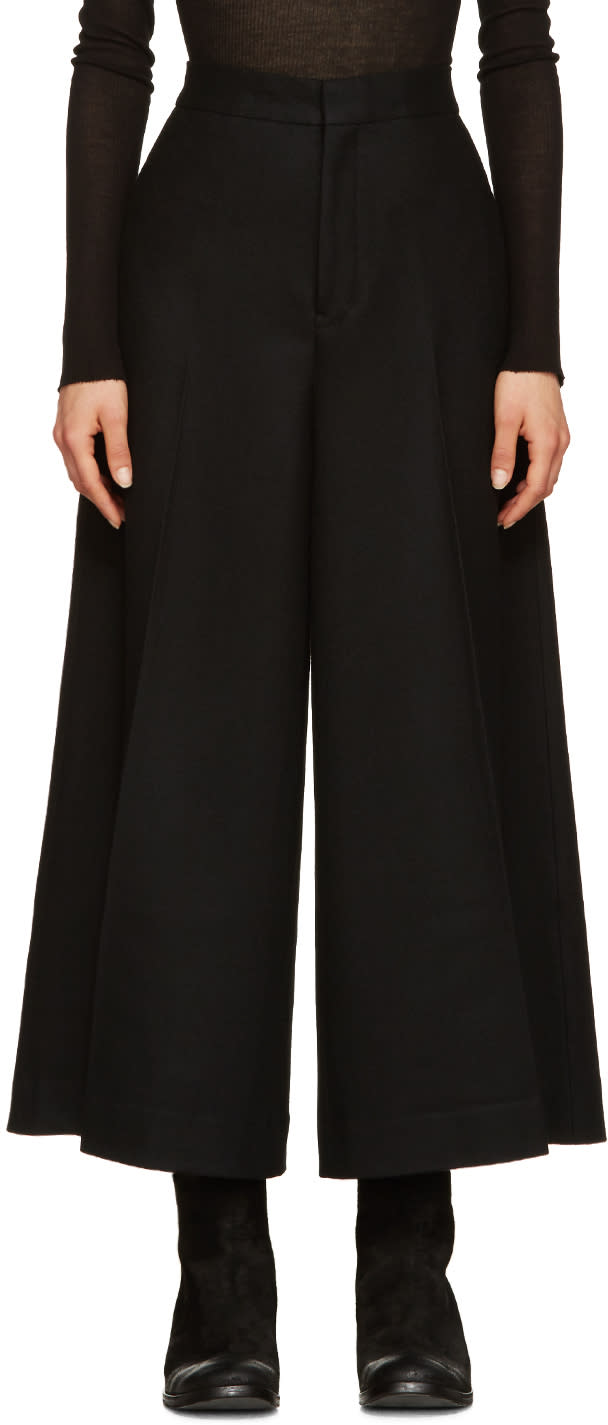 Ys Black Wool Cropped Trousers