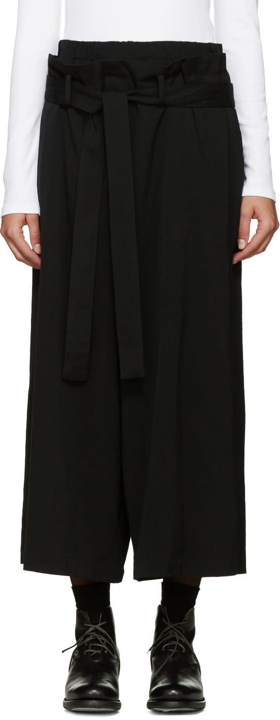 Ys Black Twill U-belted Trousers