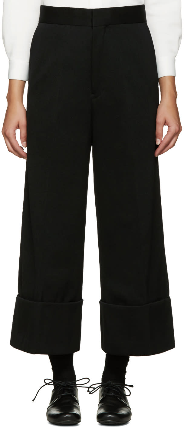 Ys Black Wide-leg Chino Trousers