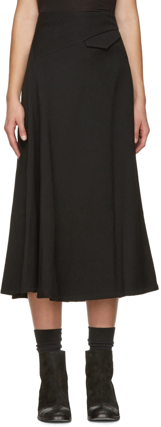 Ys Black O-oblique Asymmetric Skirt