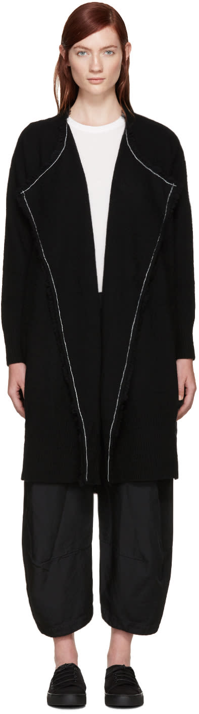 Ys Black Wool Fringed Cardigan