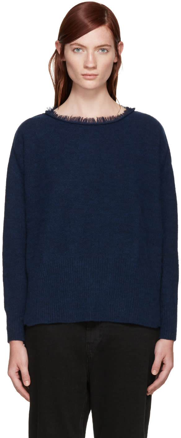 Ys Blue Fringed Collar Sweater