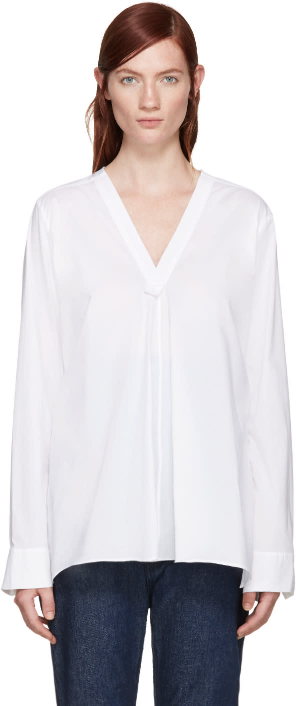 Ys White V-neck Blouse