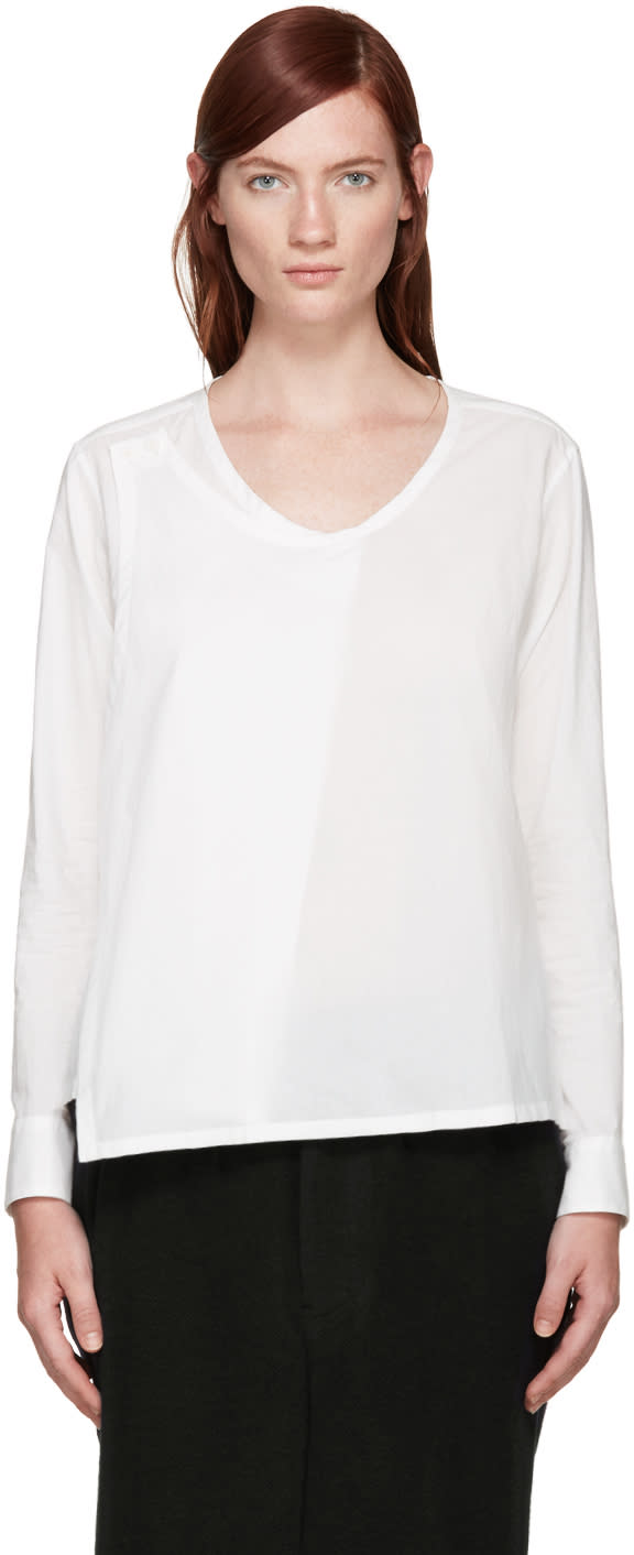 Ys White Wrap Blouse