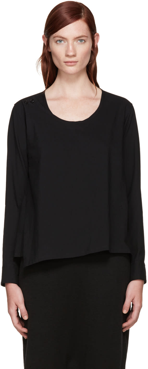 Ys Black Wrap Blouse
