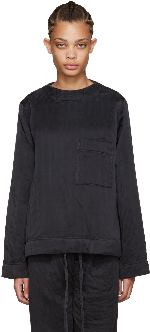 Craig Green Black Silk Ribbed Top